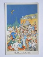 BALATONI SZÓRAKOZÓHELY, POST CARD, KÉPESLAP 1960 KÖRÜL RAJZ: TÓTH JÓZSEF (9X14 CM) EREDETI