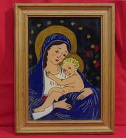 Mária a kis Jézussal - Igényesen megfestett olajkép üvegen hozzáillő keretben /60-70-es évek/