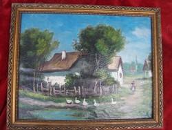 Magyar festő XX. század eleje: Faluvége  Olaj, vászon kartonon , 24 x 31 cm + keret