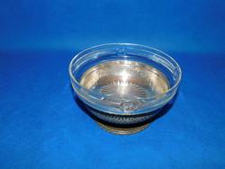 Ezüst  kínáló üvegbetéttel 292 g