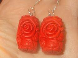 Faragott Cinóber Rózsa kézműves 925 Fülbevaló