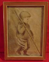 'Kisfiú pásztorbottal' - Nagyon régi (vagy 100 éves!), szép grafika hozzáillő keretben