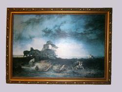 Munkácsy Mihály: Vihar a pusztán Festmény másolat 90 x 65 cm (Munkácsy aláírás)