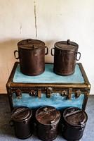 Zsíros bödön, bádog tároló edény, dekoráció, loft