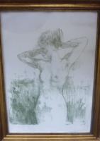 Kovács Kálmán: Akt a szabadban - litográfia kerettel, 41x58 cm, formás modell, nőalak a természetben