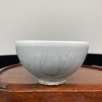 Antik, régi kínai vagy repedezett celadon mázas kézműves teáscsésze - Kína - Ázsia