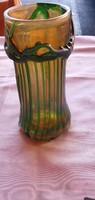 Horváth Márton gyonyorű üveg vázája, 22 cm magas