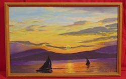 L. Kovács K.: Vitorlások a naplementében, 1999 - Nagyon jó színekkel megfestett olaj-vászon alkotás