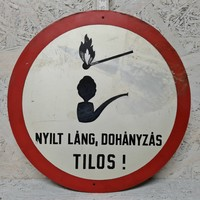 """""""Nyílt láng, dohányzás tilos!"""" festett alumínium figyelmeztető tábla (1426)"""