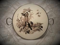 Antik, madaras, fajansz betétes tálca