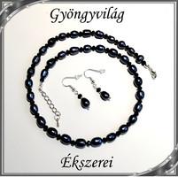Édesvizi igazgyöngy nyaklánc-karkötő szett, ezüstözött kapoccsal SSZEB-IG06 9x7 fekete