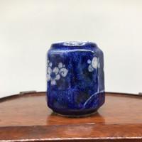 Antik, régi kínai kék fehér kézzel festett miniatűr porcelán váza - Kína - Ázsia