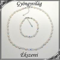 Édesvizi igazgyöngy-swarovski nyaklánc-karkötő szett, 925-ös ezüst kapoccsal SSZE-IG02-2 7x3 fehér -