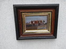 Korpács Lajos festmény tehenekkel szàntàs életkép festmény.