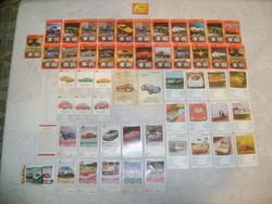 Régi, retro autós kártya lapok - ötvenöt darab - hiánypótlásra - több fajta
