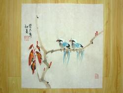 Két madár az ágon, kínai festmény