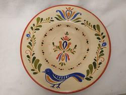 Nagy kézzel festet madárkás kerámia fali tányér, dísztárgy