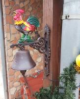 Gyönyörű Öntöttvas kakasos csengő, kolomp, harang , Paraszti dekoráció