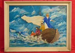 Tóth József Pál (1959- ) Jézus Názáretben - Szépen megfestett nagy méretű vallási jelenet