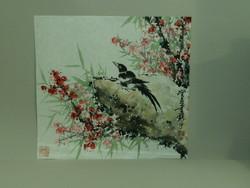 Madárka szilvafa virágok között , kínai festmény