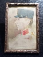 I. vh. Katonatiszt portré Akvarell festmény 1918.
