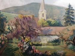Karczag Zoltán tájkép templommal