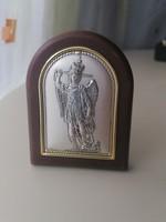 Ezüst Szent Mihály arkangyal bakelit keretben