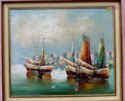 Mediterrán kikötő halász vitorlásokkal, és sirályokkal, keretezett impresszionista festmény