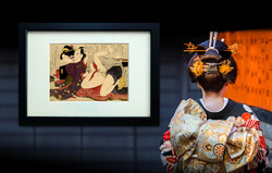 SHUNGA, Utamaro: Geisha in Kimono with Long Sleeves and her Lover, 1799.