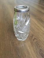 Szépséges ezüst peremű csiszolt kristály váza