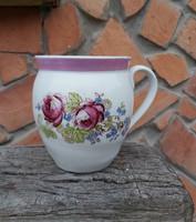 Ritka 14 cm magas virágos, rózsás porcelán csupor,  aludttejes szilke, Gyűjtői darab