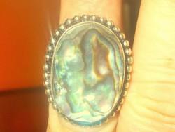 Abalone Paua Páva  Gyöngyház köves Gyűrű 7-es