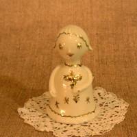 Witeg-Kőporc. porcelán angyalka arany festéssel