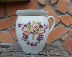 Ritka 14 cm magas Ibolyás rózsás ,virágos, porcelán csupor,  aludttejes szilke, Gyűjtői darab