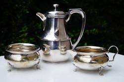 Ezüstözött Angol teás kanna cukor tartó és tejszines