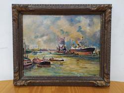Antik olaj karton 1934 tenger kikötő szignált festmény keretében Nr5.