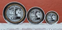 Szász Endre Napfény C. Sorozatából tányérok, falitányér, tányér, 15.5, 20, 25 cm . Gyűjtői darabok