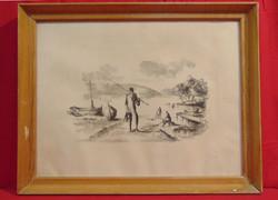 Pecás a Balaton-parton - Szépen elkészített fekete-fehér alkotás (litográfia vagy linómetszet)