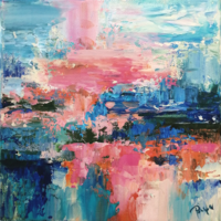 Lake Balaton inspiration II. Abstract painting, signed, direct from the artist!