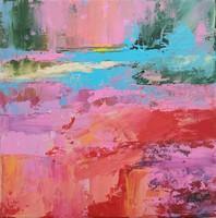 GYÖNYÖRŰ SZÍNES Absztrakt festmény Egyedi, eredeti alkotás!Szignózott,Közvetlen a művésztől!