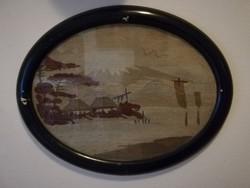 Japán tengeri tájkép érkező vitorlásokkal antik gobelin ovális keretben