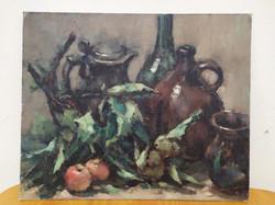 Antik olaj karton csendélet szignált festmény Nr 7.