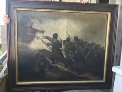 Grimm Rezső - Katonák 1883. - antik olajfestmény