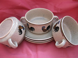 Kézzel festett kakasos leveses csésze szettek-tyúk nincs rajta