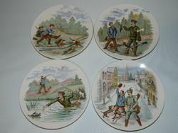 Antik Villeroy & Boch vadász jelenetes fali tányérok.