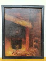Antik olaj fa táblán szignált konyhabelső festmény keretben Nr 18.