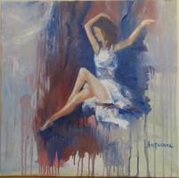Antyipina Galina: Balerina, olajfestmény, vászon, 50x50cm