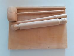 Játék fa gyúródeszka sodrófa mini konyhai eszközök fajáték