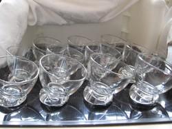 Részeg, ferde kristály whiskys, konyakos pohár készlet 11 db-os