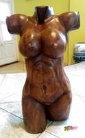 Telt idomú női akt torzó, nagy méretű politúrozott antik paliszander faszobor, egyedi ritkaság
